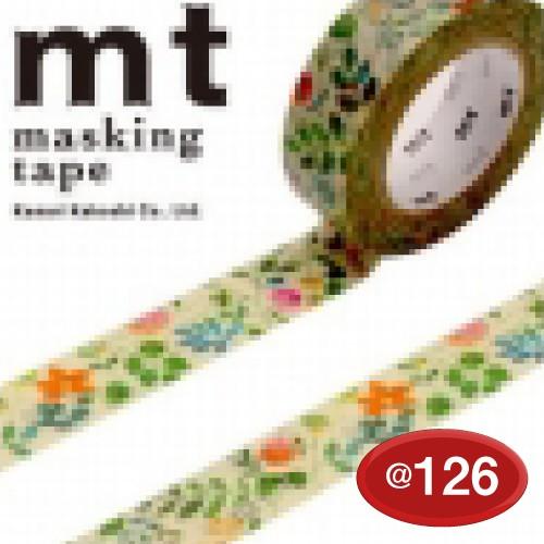 #001603820 マスキングテープ(mt ex) 15mm×10m巻 水彩花柄 1巻/s