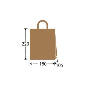 紙袋 茶無地 W180×H220×D105 300枚/s