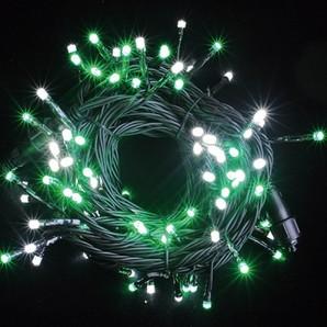 新LEDストリングライト ブラックコード ホワイト+スノーグリーンMIX