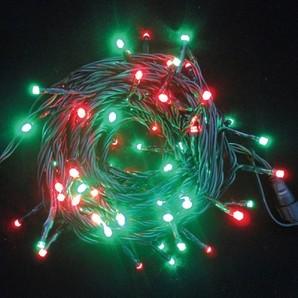 新LEDストリングライト ブラックコード レッド+スノーグリーンMIX