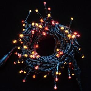 新LEDストリングライト ブラックコード レッド+イエローMIX