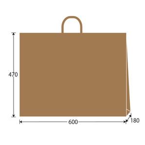 紙袋 茶無地 W600×H470×D180 100枚/s
