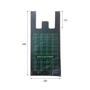 レジ袋(黒)柄あり(中)1000枚/s W200×H440×D100