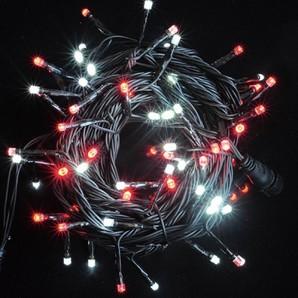 新LEDストリングライト ブラックコード レッド+ホワイトMIX