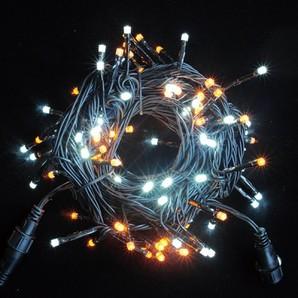 新LEDストリングライト ブラックコード ホワイト+イエローMIX